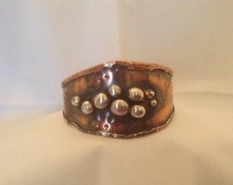 Copper and silver bubble cuff bracelet