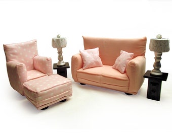 Barbie Doll Living Room Furniture 9-PC Play Set-1:6 scale-Pale Pink with White Polka Dot print-works w/ any Blythe and 11 inch fashion doll
