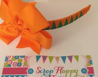 ON SALE Orange and Green Pumpkin 3-in-1 bow headband
