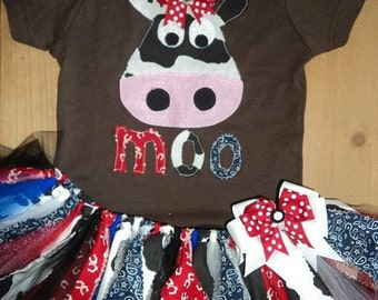 ON SALE Moo Cow Scrap Fabric Tutu Outfit