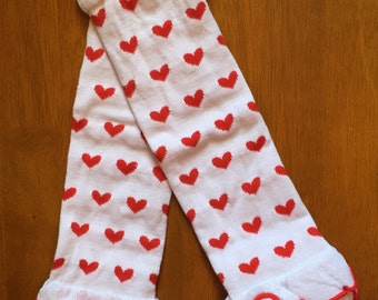 Red and white hearts ruffle legwarmers