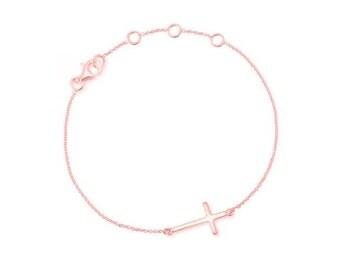 14k Solid gold cross bracelet Cute tiny Cross, x bracelet, Gold bracelet, Skinny Cross Celebrity Inspired, tiny cross bracelet, cross gold,