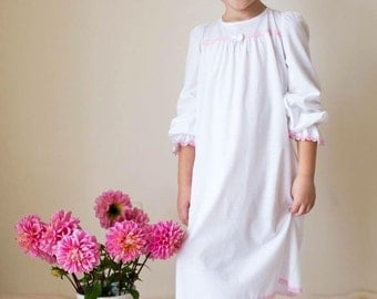 Girl's Eco-Cotton jersey pullover soft night shirt, night dress, night gown