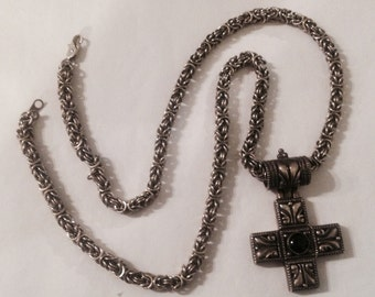 "Vintage Chunky Cross Necklace - 24"" Long"
