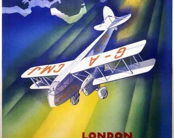 1920's Jersey Channel Islands Airways Flights to London Poster A3/A2 Print