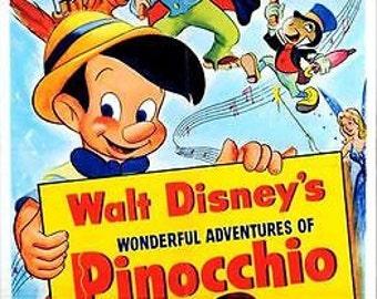 Vintage Disney Pinocchio Movie Poster A3/A2/A1 Print