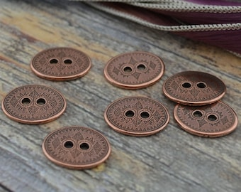 TierraCast TRIBAL Buttons Antique Copper Button, 19mm Qty 4 to 20 Round, Great for Leather Wrap Clasps