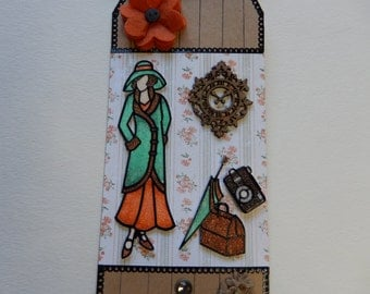 Traveling Glitter Lady Mixed Media Tag