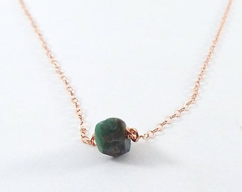 Raw Emerald Captive Stone  Necklace (Rose Gold)