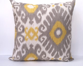 Yellow and Gray Accent Pillow Cover - Yellow Throw Pillow - Gray Throw Pillow