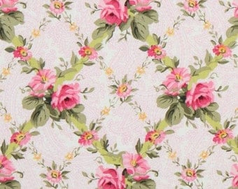 michael miller french journal pink roses fabric 1/2 yard or more