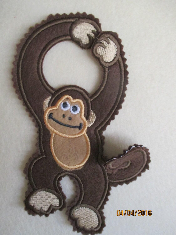 Door Hanger Spunky Monkey Door Knob Machine Embroidery