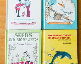 Lot Of 4 Vintage I Can Read Books, Science, History, Seeds And More Seeds,  The Pig War,The Several Tricks Of Edgar Dolphin, Pelly And Peak