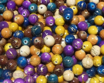 100 Acrylic Mixed Colour Drawbench Beads - Round - 8mm Glossy Ball Beads Muted Colours PB59