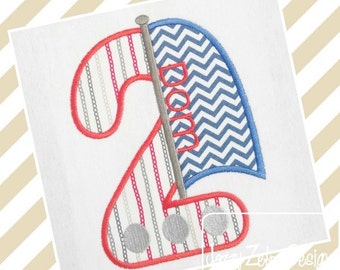 Two Sailboat Appliqué embroidery Design - 2nd birthday appliqué design - second birthday appliqué design - birthday appliqué - sail boat