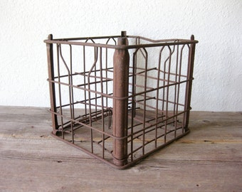 Vintage Metal Wire Milk Bottle Crate with Dividers ~ Rustic Industrial Home ~ Marked 4 Home Juice Co MP 69