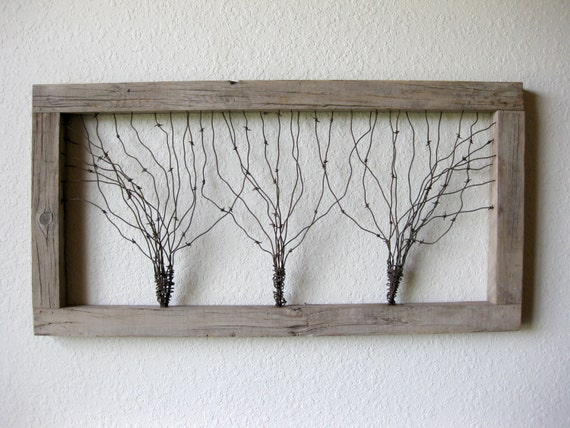Large reclaimed barn wood and barbed wire tree wall art