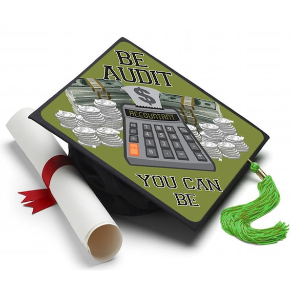 Accounting grad cap by tasseltoppers on etsy for Accounting graduation cap decoration