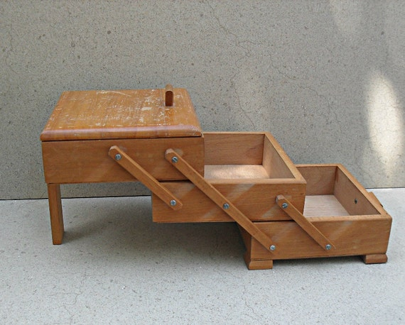 Vintage wooden sewing box handmade israel s
