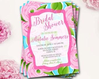 Preppy Floral Bridal Shower Invitation, Pink And Blue Bridal Shower, Preppy Bridal Shower Invitation, Lilly Invitation, DIY Printable
