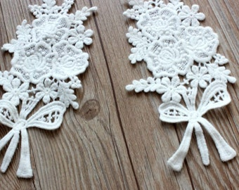 2pcs White Lace Appliques Cotton Wedding Flowers Shape Embroidered Patches