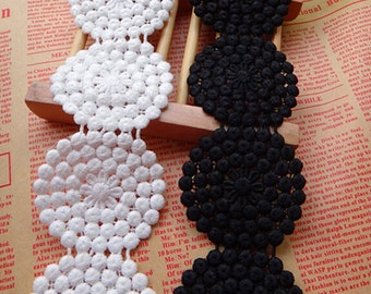 "2 Yards Lace Trim White Black Round Floral Wedding Fabric 2"" width"