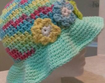 Flower power sun hat for girls