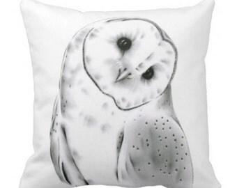 Barn Owl Pillow,  Barn Owl Decor, Black and White Pillow Cover