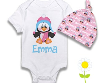 Personalized Penguin Baby Girl Gift Set - Penguin Bodysuit or Gown & Knotted Beanie Hat - Custom Name Hat and One-Piece - Winter Baby Outfit
