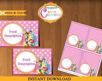 Instant Download - Disney Princess Food Tent Cards - Princess Food Labels - Princess Birthday Party - Decorations -EDITABLE TEXT - PRINTABLE