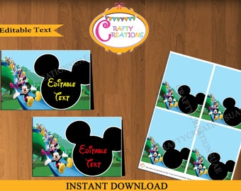 Mickey Mouse Food Label Cards - Mickey Mouse Clubhouse Food Tent Cards - Party Printables - Editable Text - INSTANT DOWNLOAD - CraftyUAE