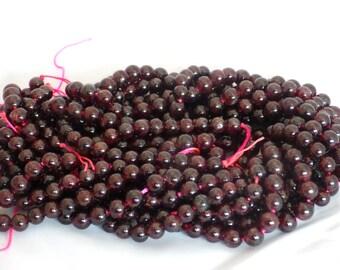 6mm Garnet Round Beads