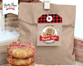 Holiday Party Favor Tags // INSTANT DOWNLOAD // Buffalo Plaid // Christmas Cookie Exchange // Cookie Swap // Gift Tags // Printable CE02
