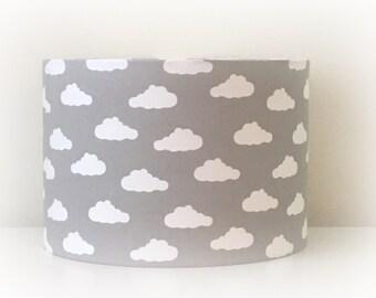 Lampshade Handmade Grey White Cloud Fabric 20cm 30cm Drum Nursery