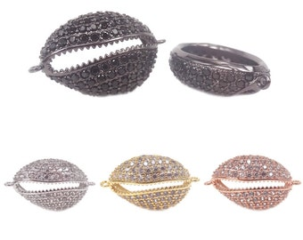 Micro pave Clear CZ Crystal Sea Cowrie Shell Connector,Gold/Silver/Black/RoseGold Cowrie Shell Beads For Bracelets Making, 2Pcs