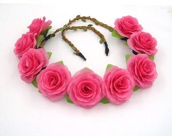 Hot Pink Flower Crown,Pink Rose Headband,Pink Flower Headband,Pink Rose Crown,Girls,Women,Adult,Festival Crown,Wedding Bride Bridal Headband