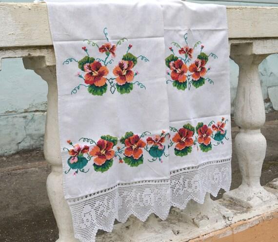 SALE Vintage Tea Towel Embroidered Tea Towel Vintage By