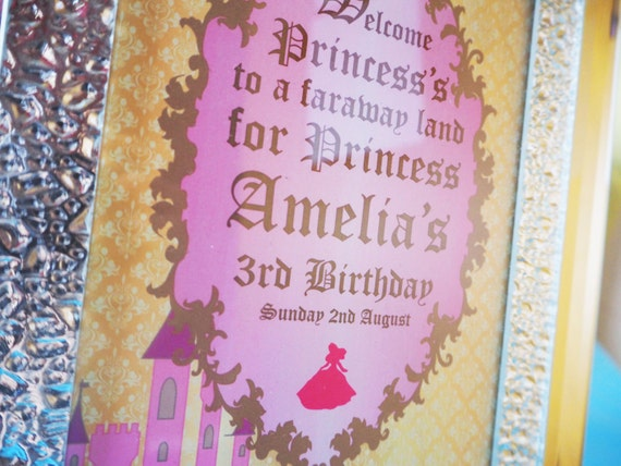 PRINCESS - Fairytale - Sign - PERSONALIZED - Child - Birthday - Party - Pink - Gold - Blue - Baby - Girls - PRINTABLE - Pdf - Digital