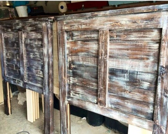 The Novec: Rustic Aged Wood Solid Wood Headboard w/ White Overlay- Barnwood Finish. Distressed. Salvage Wood Look. Reversible Headboard!