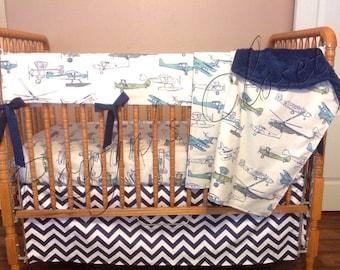 Custom Airplane Crib Bedding Set