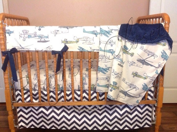 Items similar to custom airplane crib bedding set on etsy - Airplane baby bedding sets ...