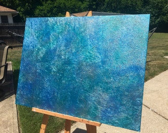 Metallic blue impasto painting