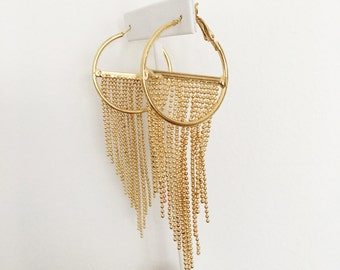 Ball chain hoop statement earrings with tucked in effect