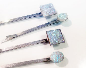 Earthy iridescent druzy geometric hair pins bobby pins hair decoration