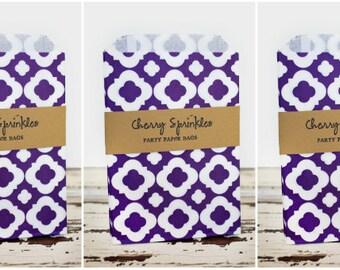 """5x7"""" Purple Quatrefoil Sacks -paper sacks -Purple party decorations -Party Bags -Merchandise bag -Favor Bags -Candy Buffet -Goody bags"""