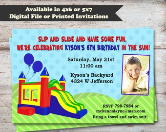Bounce House Birthday Invitations, Water Slide Birthday Party Invitations, Bounce House Party, Digital File Or Printed Invitations