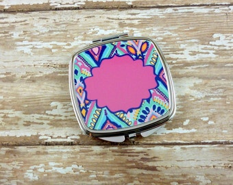 Add your monogram personalized Compact Mirror-Pocket Mirror-Lilly P Inspired-Bridesmaids Gift-Wedding Party-Teacher