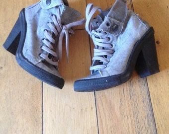 Vintage Combat Boots, Military Boots, Shabby Chic Canvas Boots