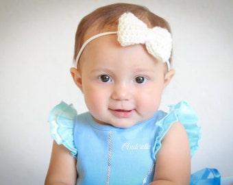 Crocheted bow headband, nylon headband, baby headband, baby gift, baby accessory, headband, photo prop, toddler, one size