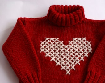 Knit sweater for toddler, Red knit sweater, Valentines day baby outfit, Red sweater with heart